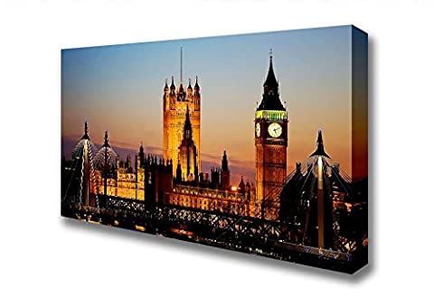 Wide The Glow Of Houses Of Parliament Night Lights Canvas Art Prints - Extra Large 32 x 64 inches