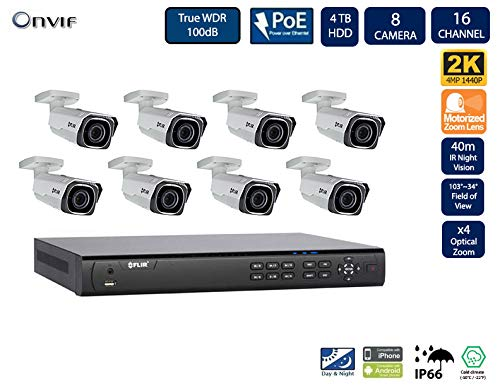 Flir Digimerge ipsecurity Kamera Sytem mit Dnr400P Serie 2 Festplatteneinschübe Nvr und Quad-HD-Motor 4 Mp (2K) mit Vandalismusschutz Einschuss kamera (8 Einschuss kameras mit 16-Kanal-4Tb NVR) 4 Mp Serie