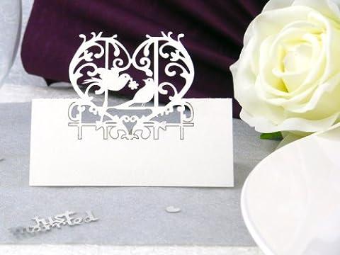 10x Tischkarten Hochzeit EinsSein® Liebesbank weiß Hochzeit, Tischkarten, Goldene Hochzeit, Platzkarten, Namenskarten, Goldene Hochzeit, Platzkarte Glas