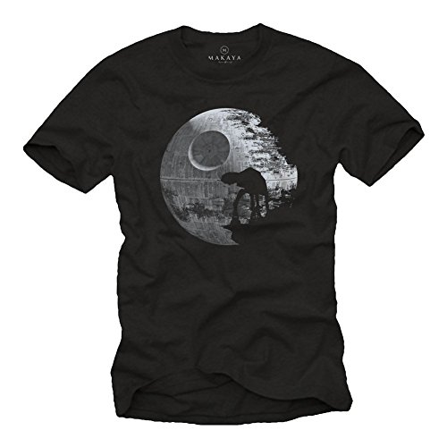 Todessstern T-Shirt mit AT AT im Mond schwarz Herren Größe L (T-shirt Mond)