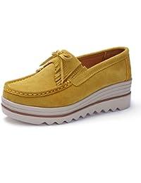 Mocasines de cuero, para mujer, zapatos planos de verano cómodos para conducir, color Blanco, talla 35.5