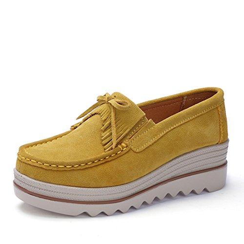 a88fdc1a6437 Z.SUO Mujer Mocasines de Cuero Gamuza Moda Loafers Casual Zapatos(38 EU