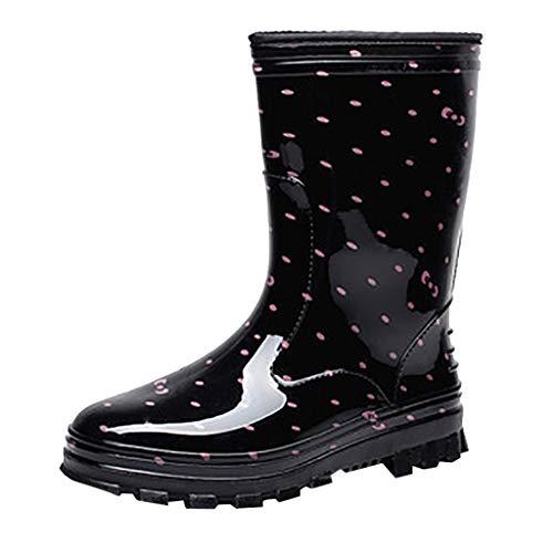 SoonerQuicker Unisex-Erwachsene Boots Wasserschuhe freizeit Damen mode niedrigen absätzen mittelrohr regen stiefel wasserdicht rosa 36