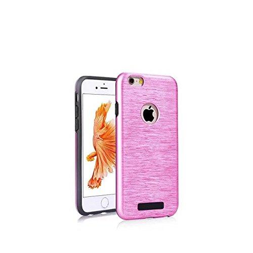 iPhone 6 Coque,iPhone 6S Coque,Lantier Rugged métallisé texture brossée résistant aux chocs résistant aux chocs résistant double couche de protection hybride pour Apple iPhone 6/6S gris Brushed Texture Hot Pink