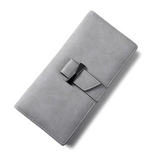 Woolala Donna Slim Portafoglio Bifold Bow Tie Cash Credit Cards Organizzatore Frizione Borsa Lunga Con Tasca Zip Zip, Blu Gray