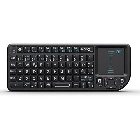 Rii Mini Teclado Inalámbrico Bluetooth 2.4GHz de Rii (Diseño Español) con ratón táctil - compatible con Smart TV, Mini PC Android, PlayStation, Xbox, HTPC, PC, Raspberry Pi (Rii mini K02+ /Backlit/Laser pointer[Bluetooth])