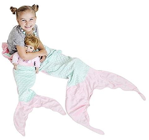 PoshPeanut weiche, bequeme Minky Meerjungfraudecke, Kuscheldecke für Alter von 3 bis 13mit gratis Puppendecke, Sonstige, Aqua / Pink, For Ages 2-10