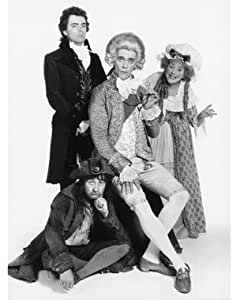 """ROWAN ATKINSON AS EDMUND BLACKADDER, ESQ, BUTLER TO THE PRINCE, HELEN ATKINSON-WOOD AS MRS. MIGGINS, A COFFEE-SHOPPE OWNER, HUGH LAURIE AS GEORGE, PRINCE OF WALES, PRINCE REGENT, TONY ROBINSON AS SOD-OFF BALDRICK, A DOGSBODY FROM BLACKADDER THE THIRD #1 - BLACK & WHITE Movie Photo- LARGE wall POSTER Size Print - SIZE 25x20"""" (60x50cm)"""