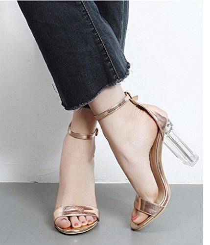 Aisun Damen Elegant Transparent High Heels Sandalen Mit Knöchelriemchen Champagner