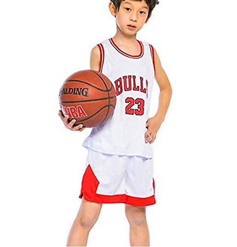 LLZYL Jungen- Und Mädchen-Basketballtrikot - NBA 23# All-Star-Bullen Michael Jordan, Sommer-Kinder-Jersey-T-Shirt, Cooles, Atmungsaktives, Klassisches Ärmelloses Top Und Shorts,White,M:130~140cm (Für Jordans Kinder Michael)