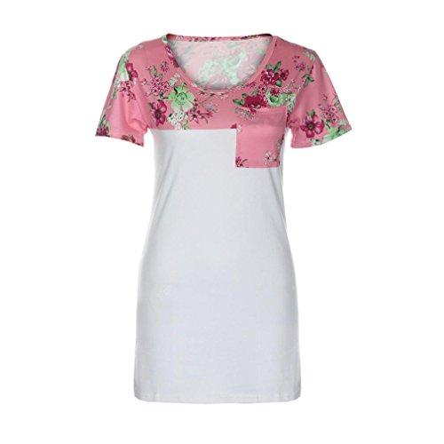 Manadlian T-Shirt Femmes, T-Shirt Femmes 2017 Femmes Toile à Manches Courtes à Imprimé Floral à Manches Courtes Rose