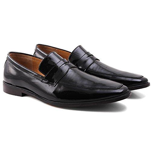 Unze Cuir élégant Slipns Derby Chaussures Hommes Neil ' Noir