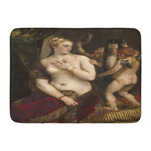 LIS HOME Fußmatten Bad Teppiche Outdoor/Indoor Fußmatte Venus Spiegel von Tizian C 1555 italienische Renaissance Malerei Öl auf Leinwand die Klassische Göttin Liebe Badezimmer Dekor Teppich Badematte