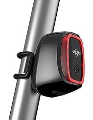 GZQ intelligentes Fahrrad-Rücklicht, USB-nachladbares LED hinteres helles Taschenlampen-Rücklicht für das radfahrende Radfahren, wasserdichte Fahrrad-Sicherheits-Licht-Reflektoren mit Tageslicht-Sensor u. Schlag-Sensor (Black)