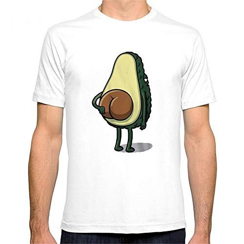 Algodón Transpirable Manga Corta Aguacate Camiseta Divertida de los Hombres Digital Impreso Camiseta de algodón. Camisetas (Color : White, Size : S)