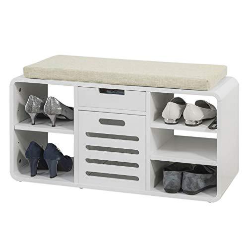 Sobuy scarpiera salvaspazio mobile ingresso moderno panca con casetto e cuscino bianco fsr54-w
