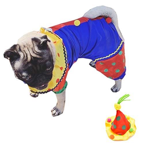 Super Clown Kostüm - Youbedo Clown-Kostüm für Hunde, Clown-Kostüm für Kleine Hunde und Katzen, super lustig, Clown-Stil, für Cosplay-Partys, X-Large, Mehrfarbig