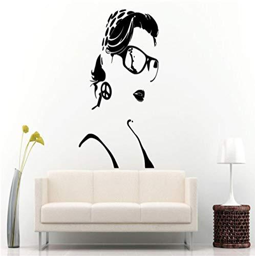 Mädchen Schönheitssalon Wandtattoo Sexy Frau Bandana Brille Vinyl Friedenszeichen Kunstwand Swag Entfernbare Wandaufkleber 57x90cm