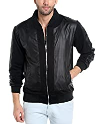 Campus Sutra Mens Cotton Jacket (Azw17L_Jkldarpt_M_Pln_Bl_Az_L_Black_Large)