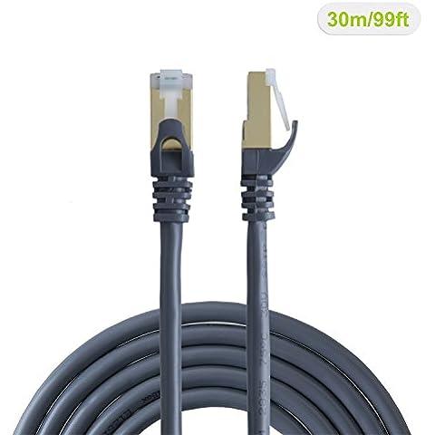 vellbox 30m Cat6a (categoria 6A), doppio schermato (SSTP SFTP) cavo patch Ethernet maschio/maschio, contatto placcato oro