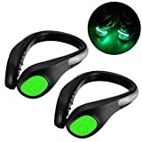 2 PCs - LED Shoe Clip for Jogging, Running, Cycling, Horse-Riding, Dog-Walking and Any Kind Activity in the Dark, Family Safeguard Night Light (GREEN)