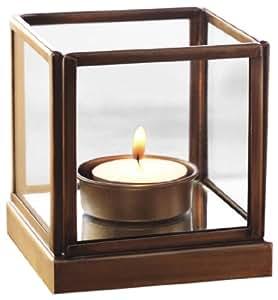 Borosil Mirage Glass Tea Light (8 cm x 8 cm x 9 cm, Brown)