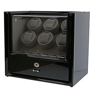 Seis reloj Winder con almacenamiento en negro piano madera-Magnum colección por Aevitas de Aevitas