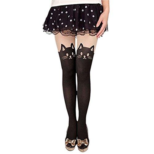 6418f7c361 Kfnire calze collant da donna sexy con coda di gatto tattoo alte calze  collant