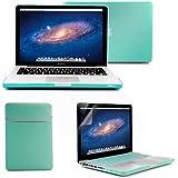 GMYLE - Paquete 4 en 1 Azul Turquesa: Carcasa para MacBook Pro de 13 pulgadas + Bolsa + Cubierta del teclado (US Layout) + Protectores de pantalla (No apto para Macbook Pro Retina 13)