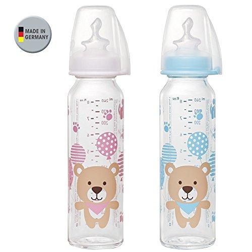NIP Glas Flasche Mix // 2er Set // Glas-Babyflasche // Standardglasflasche 250 ml // Trinksauger Größe M (Silikon / Milch / ab 0 Monate)