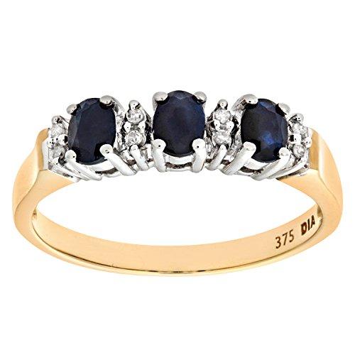 Naava Damen-Ring 9 Karat (375) Gelbgold Gr. 54 (17.2)  7 Amethyst Diamanten PR6491SA S