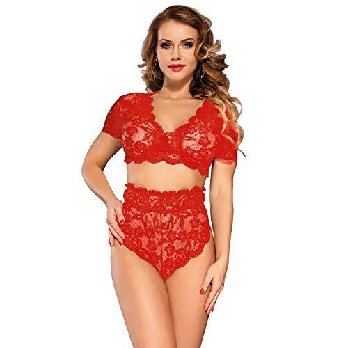 ohyeahlady Damen Dessous Set Transparente Spitzen BH Hohe Taillen Kurzarm Slip Panty Reizwäsche(Rot,Medium=EUR 36-38) - Hohe Taille Spitze