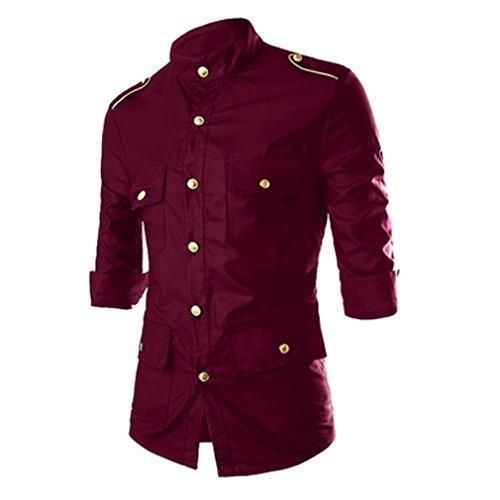 Honghu Quattro Tasca Manica Lunga Camicia Uomo Rosso
