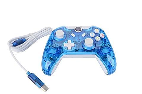 Althemax ® Wired Kabel Transparent Clear LED Licht Controller für Xbox One 360 Windows PC Blau (360 Wired Controller)