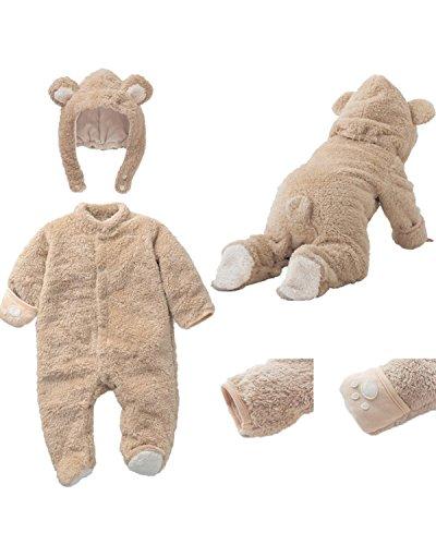 Kidsform Unisex Baby Langarm Winter Overalls Jumpsuit Playsuits Kleidungset mit Hüte Beige 85/9-12M