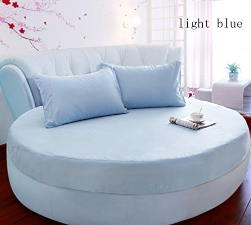 AIURLIFE rotonda diametro lenzuolo 2m o 2.2meter + 2pcs federe coprimaterasso 100 cotone / case , king-light blue , king-light blue