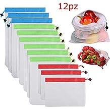 Gudotra 12pcs Bolsa de Malla para Almacenamiento Fruta Vegetales 3 Diversos Tamaños Practico para Vegetales Reutilizables