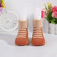 Beautyrain 1Pair Calcetines de Terry Pure Cotton para niños (1-3 años) Khaki Bar