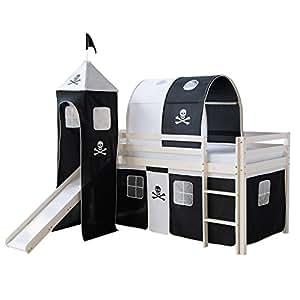 Homestyle4u Kiefer massiv Kinder Etagenbett mit Piraten Lamellen Slide Turm, Holz, Weiß, 97x 208x 110cm