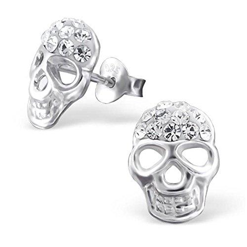 Maske Ohrringe mit 22 Kristallen von Monkimau, Kinder-Schmuck, Sterling Silber, Damen, Frauen, Mädchen-Ohrstecker (Silber) (John Carpenters Halloween-maske)