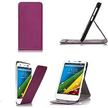 Motorola Moto G 4G/LTE 8GB/16GB función atril 'up slim funda morado–Funda–Funda de piel con tapa folio/cubierta y TPU smartphone MotoG 4G LTE Funda de piel sintética accesorios–morado)