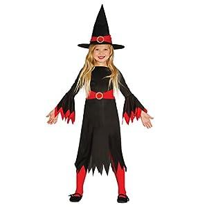 Guirca- Disfraz de bruja, Color negro, 5-6 años (85774)
