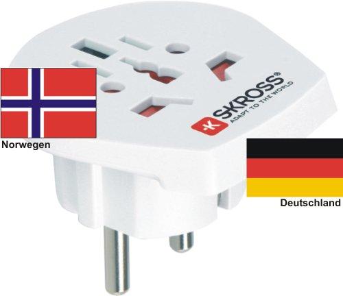 Reiseadapter - Auslandsadapter auf Deutschland Schukostecker - Strom Netz Adapter für Stecker aus Norwegen 220-230V Umwandlungsstecker Reisestecker German Travel Adapter Norway