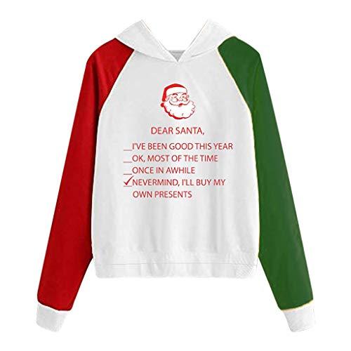 LianMengMVP Weihnachten Sweatshirt Damen Weihnachtsstrickjacke-Druck-mit Kapuze runde Kragen-Lange Hülsen-Oberseiten (Grün C, XL)
