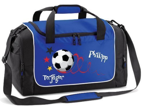 Sporttasche mit Namen und Wunschmotiv Fußballtasche Fitness Reittasche Schwimmtasche (royal blau)