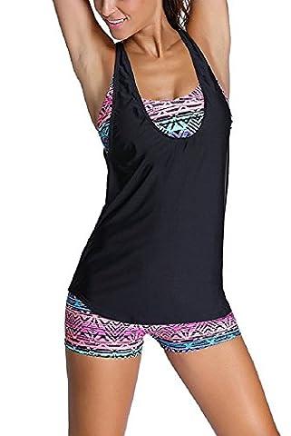 Missky Damen Bikini 3 Stücke Tribal Druck Tankini Badeanzug mit Panty oder Boyshorts (2XL, schwarz)