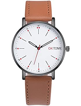 Souarts Herren Armbanduhr Einfach Stil Casual Analoge Quarz Uhr Braun