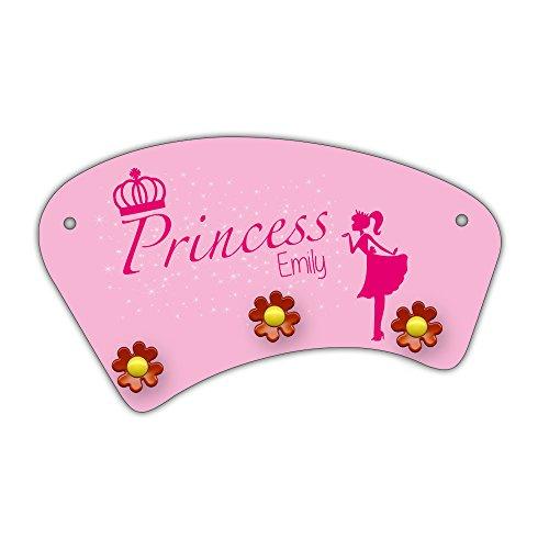 Wand-Garderobe mit Namen Emily und schönem Prinzessin-Motiv für Mädchen - Garderobe für Kinder - Wandgarderobe - Emily Baby Möbel
