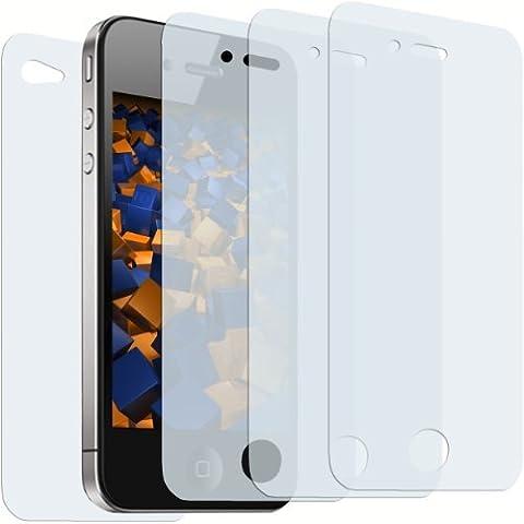 mumbi 3+1 Displayschutzfolie für iPhone 4 4S Schutzfolie (3 x VORDERseite + 1 x RÜCKseite)