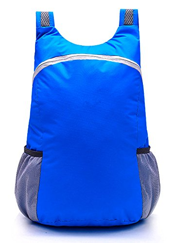 Unisexe Ultraléger Sac à Dos Polyester Daypack Pliable Sports sac à Dos Cartable - Blu